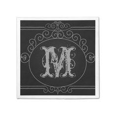 Chalkboard Vintage Border Wedding Monogram