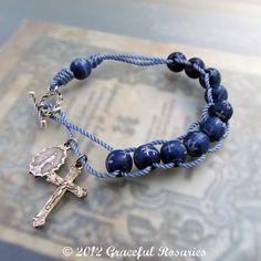 Catholic Rosary Bracelet - Sliding Wood Rosary and Cord, Sacrifice Beads Bracelet