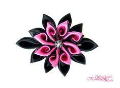 Curly Petals Tsumami Kanzashi Fabric Satin Flower Hair Clip Hot Pink and Black on Etsy, $20.82 AUD