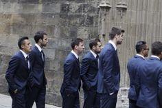 Alexis Sánchez, Cesc Fabregas, Leo Messi, Jordi Alba y Gerard Piqué, a su llegada esta tarde a la catedral de Barcelona