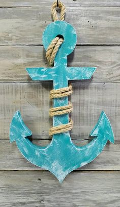 Nautical Wood Anchor with Rope Beach Decor Nautical Decor