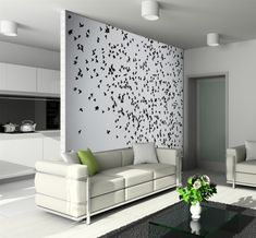 Wall stickers are inexpensive, and easy to apply to a wall, and if you decide to change the visual style for the room, it's easy to change.