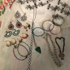 Huge bundles of beautiful jewelry. This bundle has in it, six pair of earrings, four bracelets, three necklaces, and two ankle bracelets. This is a super deal that everyone should love. Many Jewelry Earrings