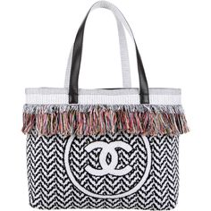 Pre-owned Chanel Extraordinary Fringe Beach Tote ($1,795) ❤ liked on Polyvore featuring bags, handbags, tote bags, white, beach tote, chanel handbags, fringe tote, white tote bag and hand bags