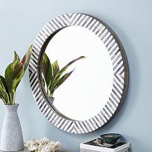 Parsons Round Mirror - Herringbone