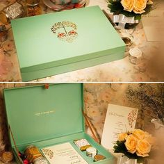 The invite crafted in mint,off-white and gold hues included personalized green tea & honey favors for guests by ozel_design_invitations