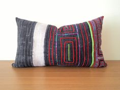 "14""x 24"" Vintage Navy Blue Hmong Hemp Pillow Cover/Exotic Textile Embroidered Boho Throw Pillow / Ethnic Costume Textile Pillow Case by HillTribesTreasures on Etsy"