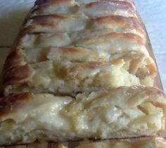 Cream cheese Danish 2 tubes of crescent rolls 8 oz cream cheesesoftened 1cup sugar 1tbl spoon lemon juice 1egg Combine cheese sugarlemon juice and egg set aside Lay out one can of crescent on a bakingsheet leaving whole spread Cheese mixture over dough separate 2nd canof roll laying on top of cheese mixture with flat side on outer edgepoints facing inward on each side they will overlap bake at 325 for 20min until golden brown SOO GOOD