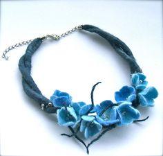 Blue flowers necklace felt flowers felt necklace by jurooma