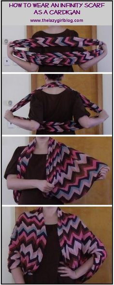 How to wear an infinity scarf as a cardigan. LOVE this!!!!! Awesome alternative to a light jacket. Use that morrison scarf.
