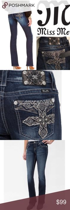 """🎀 JUST IN! 🎀 Miss Me Curvy Boot Cut Jeans Authentic NWOT Miss me jeans Mid rise curvy boot jeans - Never worn so these are brand new!  Crystal and silver cross back pocket embellishments & just right about of stretch lifts your booty to make heads turn! These are the """"sexy jeans"""" that every girl needs in her closet. One word...Ahhhhhmazzing. Size 25 - Inseam 33 - Style # ME8313VBL Color:dk259 Material: 98% cotton, 2% spandex Measurements: Waist 15"""" across laying flat, Rise 8.5, Leg opening…"""