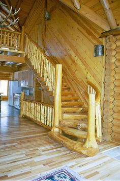 Rustic Barn Wood, love the stain and logs for the steps