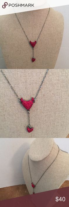 ❤Swarovski  adjustable necklace heart and devil ❤ Beautiful horned heart and devil tail double pendant Swarovski  adjustable necklace.❤ Swarovski Jewelry Necklaces