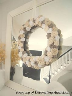 Felted Wool Rose Wreath