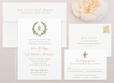 Olive Branch Modern Wedding Invitation & RSVP Printed Set - CUSTOMIZE Colors and Content