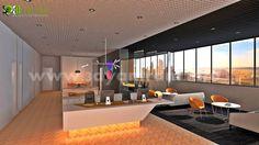 Commercial Office Launge by Yantram Studio. Architectural Design Studio, 3d Interior Design, Interior Rendering, Commercial Interior Design, Commercial Interiors, Interior Architecture, Decoration Bedroom, 3d Home, Pantry Design