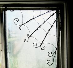 Barbed Wire Corner Spider Web~<3 Would be so cool in thefront porch, back deck  or for Halloween!