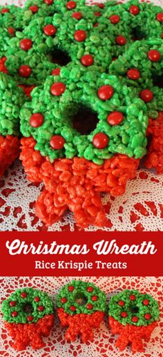 Christmas Wreath Rice Krispie Treats | Best Christmas Rice Krispie Treat Recipes | Rice Krispie Treat Ideas, see more at: http://diyready.com/best-christmas-rice-krispie-treat-recipes-rice-krispie-treat-ideas/