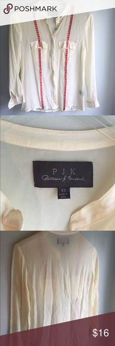 PJK Embroidered Button Down SZ XS NWOT PJK Patterson J Kincaid: Embroidered Button Down SZ XS NWOT. Light yellow/cream color with red embroidered stripes and pearl shell buttons. 100% viscose material would also fit a small PJK Tops Button Down Shirts