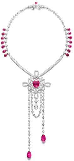 Piaget Couture Précieuse necklace Magnificent Adornments Inspiration. Crafted in 18K white gold set with 18 rubellite drops (approx. 38.73 cts), 370 brilliant- cut diamonds (approx. 16.04 cts), 4 pear-shaped diamonds (approx. 6.10 cts), 5 pear-shaped diamonds (approx. 4.09 cts) and 9 square-cut diamonds (approx. 2.98 cts).