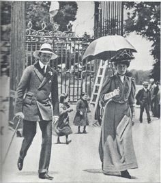 """The new Queen Ena and King Alfonso XIII at their honeymoon at """"La Granja"""" - A Pictographic Remembrance of Queen Victoria Eugenia Julia Ena of Battenberg of Spain."""