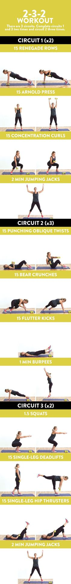 Grab a pair of dumbbells and do the 2-3-2 Workout for a 45-minute, circuit-based strength workout that incorporates bursts of cardio.Grab a pair of dumbb