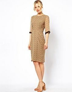 Image 4 ofASOS Pencil Dress In Leaf Print too small 54.