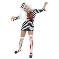 Approach with caution! This Zombie Prisoner Escapee Costume is not to be messed with. A simple but effective halloween costume. Halloween Costume In Zombie Prisoner Escapee Style Equipped With Long Sleeves In A Mini Dress Style. Halloween Zombie, Zombie Halloween Costumes, Fete Halloween, Halloween Fancy Dress, Halloween Outfits, Adult Costumes, Costumes For Women, Halloween Horror, Halloween Carnival