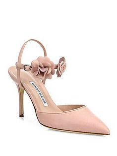 Manolo Blahnik Volvonapla Flower Leather Ankle-Strap Pumps - Pink - Si