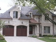 Chicago Brick and Stone Photo Gallery Grey Stone House, Brick And Stone, Building Structure, Building A House, Stone Exterior Houses, House Exteriors, Copper Roof, French Country House, New Home Designs