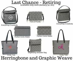 Herringbone and Graphic Weave print products retiring January 2017