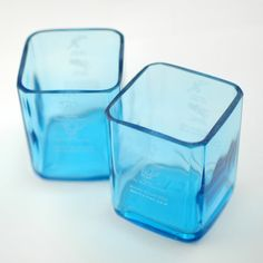 Two Bombay Sapphire Tumblers handmade from up cycled gin bottles