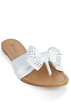 Deb Shops flat #sandal with stone studded bow
