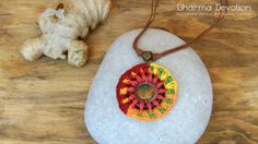 Lightweight Necklace - Crochet Mandala - Fiber Pendant - Natural Jewelry - Quality Bijoux - OOAK Jewels - Original Gift for Woman