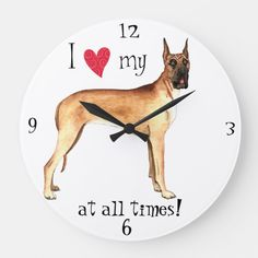 Show your love for your special dog with this I love my Great Dane at all times original design. Great gift for Great Dane-loving family and friends. Scooby Doo Halloween, Large Clock, Gentle Giant, Hand Coloring, Great Gifts, Love, Gender, Times, Unisex