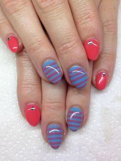 Gel nails with hand drawn designs using gel  By Melissa Fox