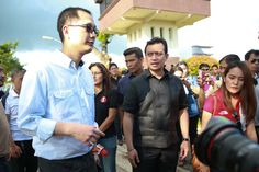 Senator Antonio Trillanes IV (right) tours the Sunchamp Agri-Tourism Park together with businessman Antonio Tiu, the self-proclaimed owner of the property, in Rosario, Batangas on Thursday. The ocular inspection is part of the Senate investigation on corruption charges against Vice President Jejomar Binay.