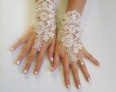 Champagne Wedding gloves free ship bridal gloves by GlovesByJana Lace Gloves, Fingerless Gloves, Pale Pink Weddings, Lace Weddings, Bridal Cuff, Bridal Lace, Beige Wedding, Gothic Wedding, Vestidos