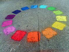 Rainbow Chalk Circle