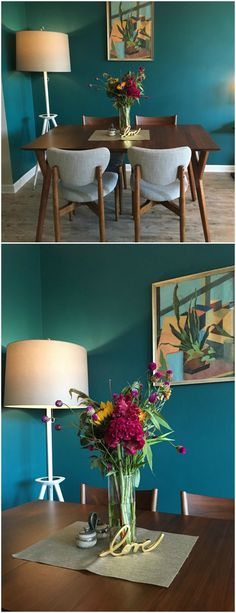 A Teal Accent Wall Adds Beautiful Pop Of Color In The Design This Mid
