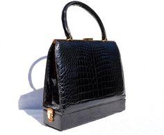 Stunning 1950'-60's BLACK Crocodile Porosus Belly Skin SAC MALLETTE Handbag - Vintage Skins
