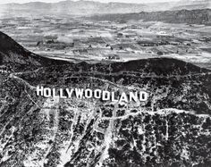Hollywoodland sign in 1923, with the rural San Fernando Valley beyond.