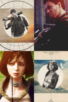 Booker DeWitt and Elizabeth The one on the bottom left creeps me out as she has a noose around her neck and is targeted. and Booker is holding a Sniper Rifle. Bioshock Game, Bioshock Series, Bioshock Elizabeth, Beyond Two Souls, Video Game Addiction, Infinite Art, All Video Games, Bioshock Infinite, Nerd Art