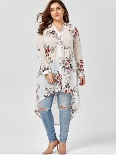 7752612bb6c3b GIYI Plus Size Women Clothing Floral Print Chiffon Long Shirt Summer 2017  Long Sleeve White Black Top Loose Blouse Shirt