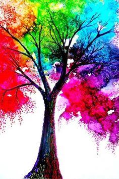 Colorful rainbow tree