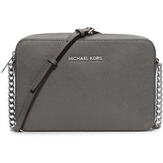 MICHAEL Michael Kors Jet Set Travel Saffiano Crossbody Bag (£100) ❤ liked on Polyvore featuring bags, handbags, shoulder bags, steel gray, purse, crossbody, travel shoulder bag, accessories handbags en chain crossbody