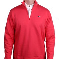 A step up in formality from a fleece, but still built for warmth and comfort, the jersey 1/4 zip from Vineyard Vines features rich, lasting color and two of the best logos int he preppy market.  Pair it with your favorite button-down or even a tee shirt - it looks great either way.    This limited edition version, made especially for Country Club Prep, features our Longshanks the fox logo on the back of the collar.