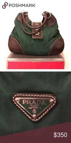 Miuccia Prada American Bowling Bag Miuccia Prada American Bowling Bag; Made in Italy 2000's; Green Nylon (water resistant) with smooth brown leather. Good condition! Prada Bags Shoulder Bags