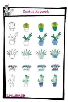 Tackling any artwork no matter how big or small is just a matter of breaking it down into its stages. Lucky for you I do this every week on my art blog. This week, cute as a button watercolour cactus illuastions is so simple any one can have a go at them. Watercolor Cactus, Watercolour, Easy Art Projects, Simple Art, Art Blog, Doodles, Crafty, Drawings, Creative