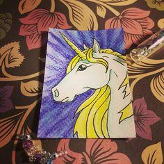 #unicorn #miniatureart #inktense #artist #instartist #instart #myart #instaartsy #newartist #artsy #artshow #ACEO #arttradingcard #illustration #patreon